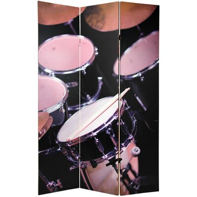 "Oriental Furniture 70.88"" x 47"" Double Sided Drums / Saxophone Music 3 Panel Room Divider"