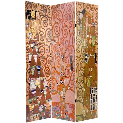 """Oriental Furniture 71.25"""" x 47.25"""" Double Sided Works of Klimt Stoclet Frieze 3 Panel Room Divider"""