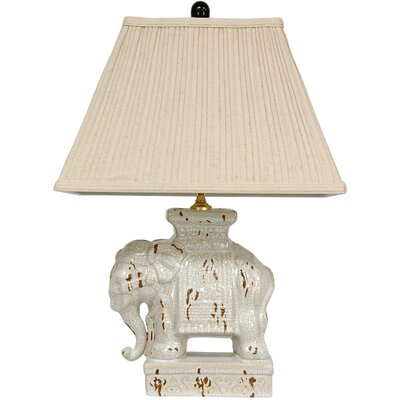 """Oriental Furniture Elephant 22"""" H Table Lamp with Empire Shade"""