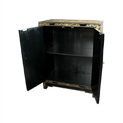Oriental Furniture Asian Gold Leaf Lacquer Cabinet