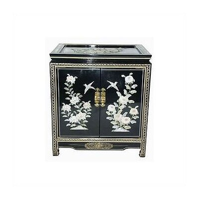 Chinese Birds and Flowers Black End Table by Oriental Furniture