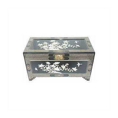 Oriental Furniture Asian Birds and Flowers Trunk