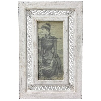 Oriental Furniture Rustic Victorian Lady Framed Graphic Art