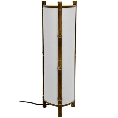 "Oriental Furniture Kamakura Japanese Bamboo 23.5"" H Table Lamp with Drum Shade"