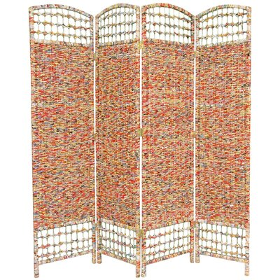 """Oriental Furniture 67"""" x 63"""" Recycled Magazine 4 Panel Room Divider"""