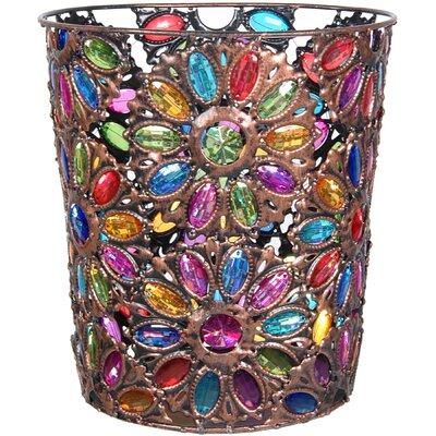 Bejeweled Flower Waste Basket by Oriental Furniture