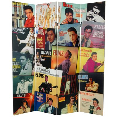 """Oriental Furniture 71"""" x 63"""" Elvis Presley Tall Double Sided Album Covers 4 Panel Room Divider"""