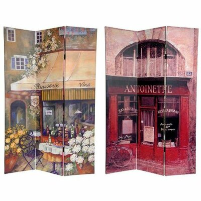 """Oriental Furniture 72"""" x 48"""" Double Sided Brasserie 3 Panel Room Divider"""