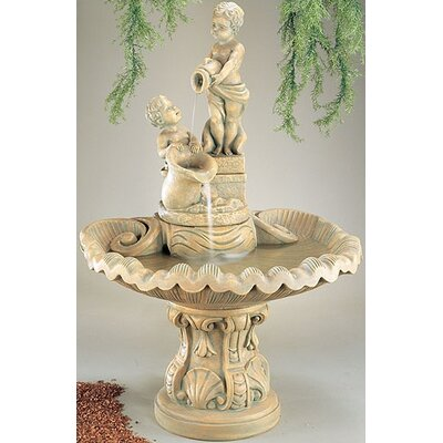 Henri Studio Figurine Cast Stone Pouring Cherubs Fountain