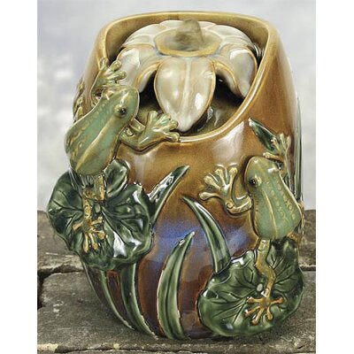 Porcelain Frogs in Lily Pond Water Fountain by Coyne's Company
