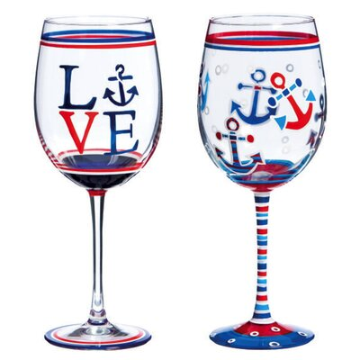 2 Piece Nautical Wine Glass Set by Evergreen Enterprises, Inc
