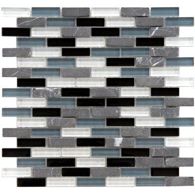 "EliteTile Sierra 0.5"" x 1.875"" Glass and Natural Stone Mosaic Tile in Tuxedo"