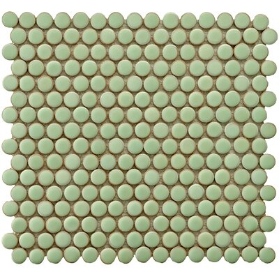 "EliteTile Penny 3/4"" x 3/4"" Porcelain Glazed and Glossy Mosaic in Moss Green"