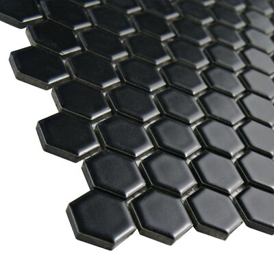 "EliteTile Retro 0.875"" x 0.875"" Porcelain Mosaic Tile in Matte Black"