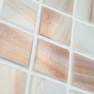 "EliteTile Fused 0.75"" x 0.75"" Glass Mosaic Tile in White"