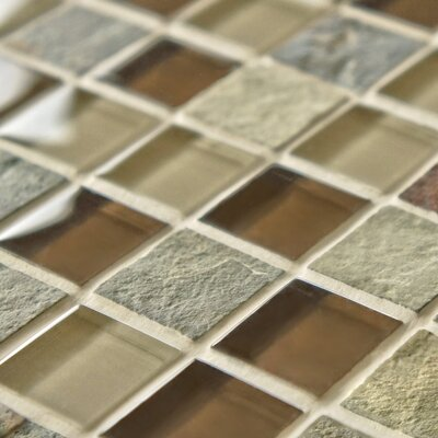 """EliteTile Sierra 0.875"""" x 0.875"""" Glass and Natural Stone Mosaic Tile in Brixton"""