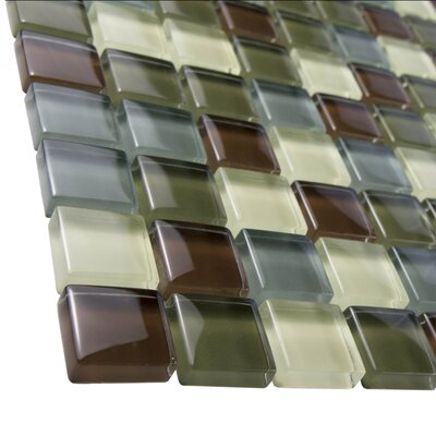 """EliteTile Sierra 0.875"""" x 0.875"""" Glass and Natural Stone Mosaic Tile in Canopy"""