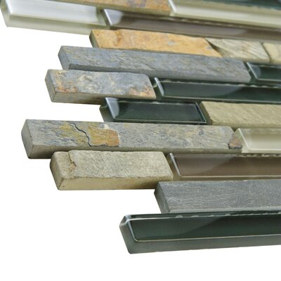EliteTile Sierra Random Sized Glass and Natural Stone Mosaic Tile in Stonehenge