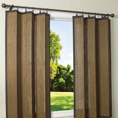 Indoor/Outdoor Bamboo Ring Top Single Curtain Panel Product Photo