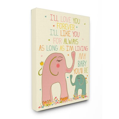 I'll Love You Forever Elephants by Karen Zukowski Graphic Art on Canvas by Stupell Industries ...