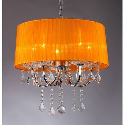 Sherbooke 5 Light Crystal Drum Chandelier by Warehouse of Tiffany