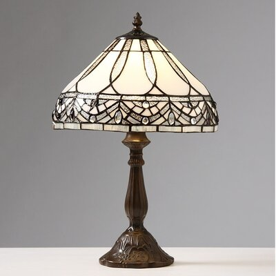 """Warehouse of Tiffany Jewels 18"""" H Table Lamp with Bowl Shade"""