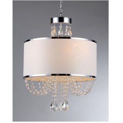 Warehouse Of Tiffany Hera 4 Light Crystal Drum Chandelier
