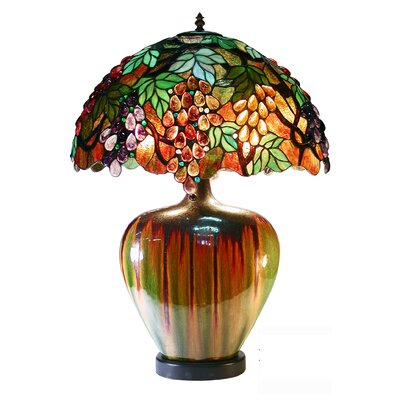 "Warehouse of Tiffany Grape 24"" H Table Lamp with Bowl Shade"