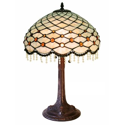 """Warehouse of Tiffany Simple Hanging Bead 29"""" H Table Lamp with Bowl Shade"""