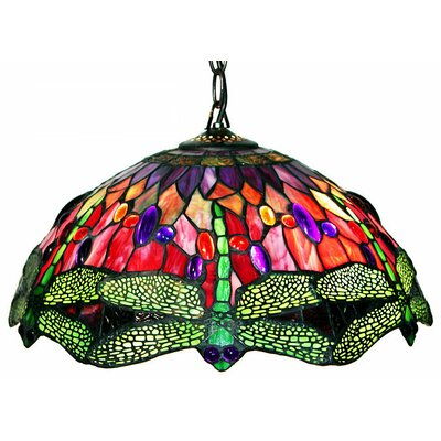Warehouse of Tiffany Dragonfly 2 Light Hanging Pendant