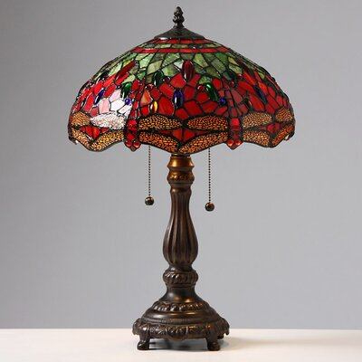 """Warehouse of Tiffany Dragonfly 23"""" H Table Lamp with Bowl Shade"""
