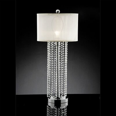 "Warehouse of Tiffany Crystal 31"" H Table Lamp with Drum Shade"