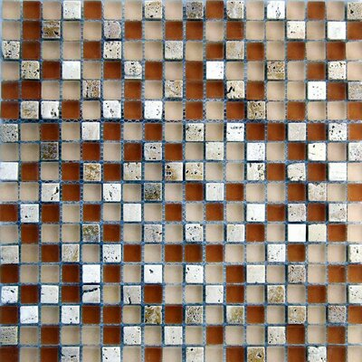 "Epoch Architectural Surfaces Desertz Rangipo 0.63"" x 0.63"" Stone and Glass Mosaic Tile in Beige"