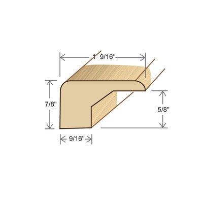 "Moldings Online 0.88"" x 1.56"" x 78"" Cherry Square Nose"