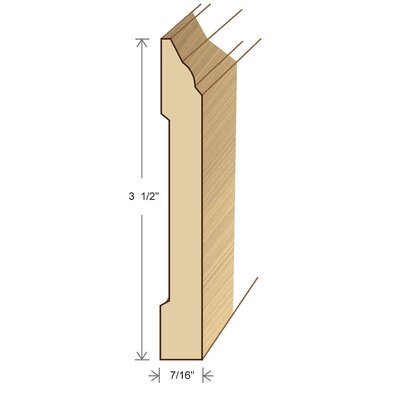 "Moldings Online 0.44"" x 3.5"" x 96"" White Ash Wall Base"