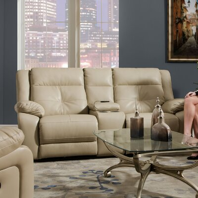 Miracle Pearl Double Motion Console Loveseat by Simmons Upholstery
