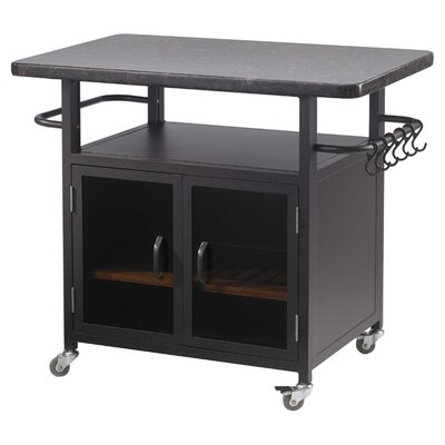 """The Outdoor GreatRoom Company Bistro 24"""" Cabinet with 36"""" Granite Top and Black Glass Doors"""