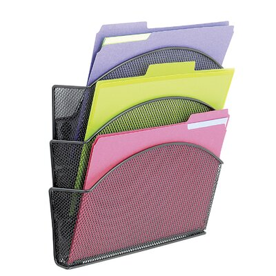 Safco Products Company Onyx Magnetic Mesh Panel Accessories, 3 File Pocket