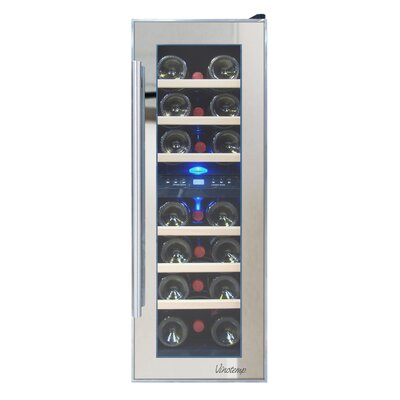 Mirrored 21 Bottle Dual Zone Freestanding Wine Refrigerator by Vinotemp