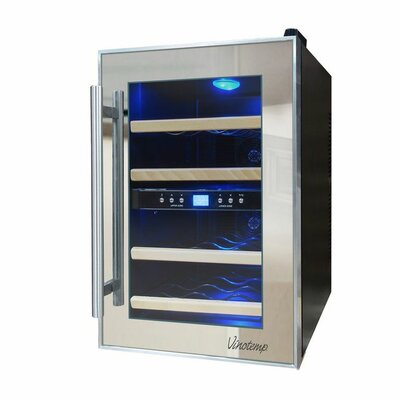 Mirrored 12 Bottle Dual Zone Freestanding Wine Refrigerator by Vinotemp