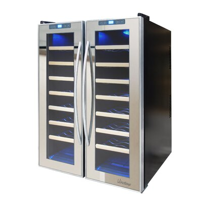 Mirrored 48 Bottle Dual Zone Freestanding Wine Refrigerator by Vinotemp