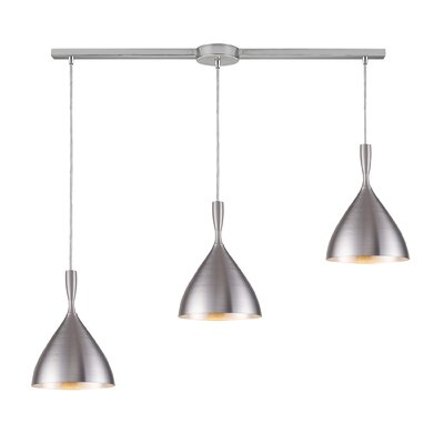 Spun Aluminum 3 Light Linear Pendant by Elk Lighting