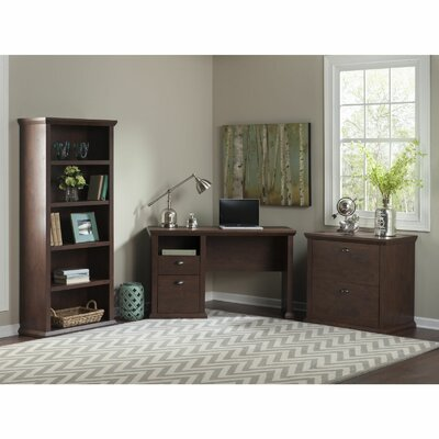 Yorktown Single Pedestal Desk with Bookcase and Lateral File by Bush Industries