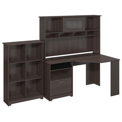 Cabot Corner Desk with Hutch and 6 Cube Bookcase by Bush Industries