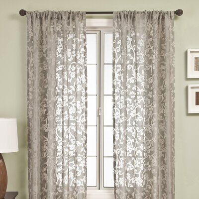 Badi Scroll Rod Pocket Single Curtain Panel Product Photo
