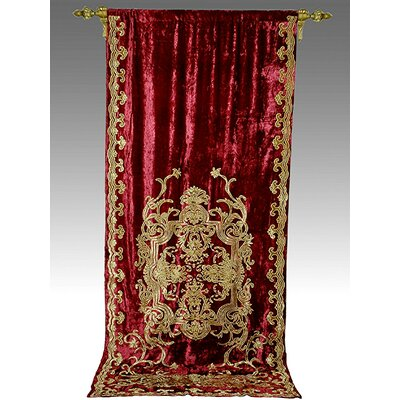Tudor Appliqué Velvet Curtain Panel Single Product Photo