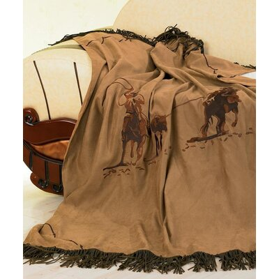Team Roping Faux Suede Throw by HiEnd Accents