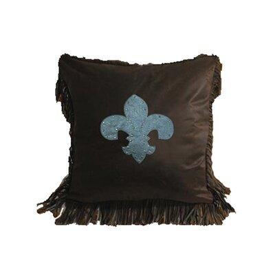 HiEnd Accents Cheyenne Faux Tooled Fleur De Lis Throw Pillow