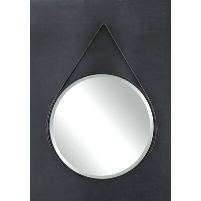 Terrain Round Metal Mirror with Leather Strap by Creative Co-Op