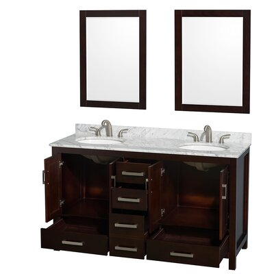 "Sheffield 60"" Double Bathroom Vanity Set with Mirror Product Photo"
